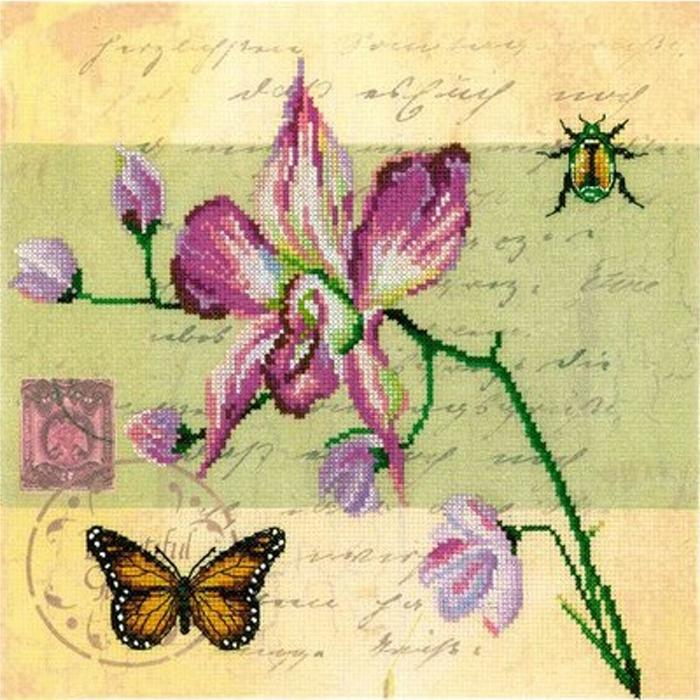 Набор для вышивания РТО Почтовая открытка - Орхидея (25 х 25 см.) набор для вышивания крестом рто 3 5 х 5 5 см fa012