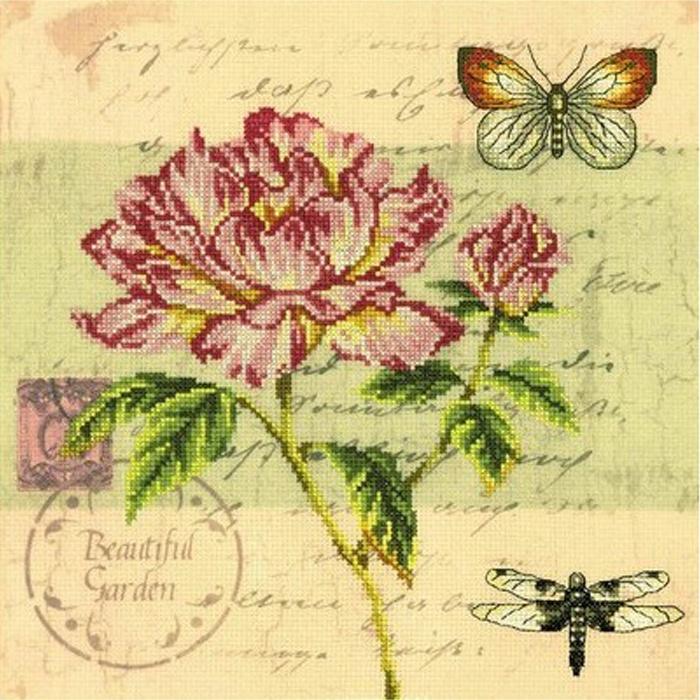 Набор для вышивания РТО Почтовая открытка - Пион (25 х 25 см.) набор для вышивания крестом рто 3 5 х 5 5 см fa012