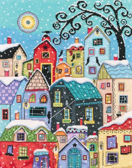 Набор для вышивания РТО Тихо падает на крыши снег (27,5*35 см, Аида 16) м579 первый снег рто рто