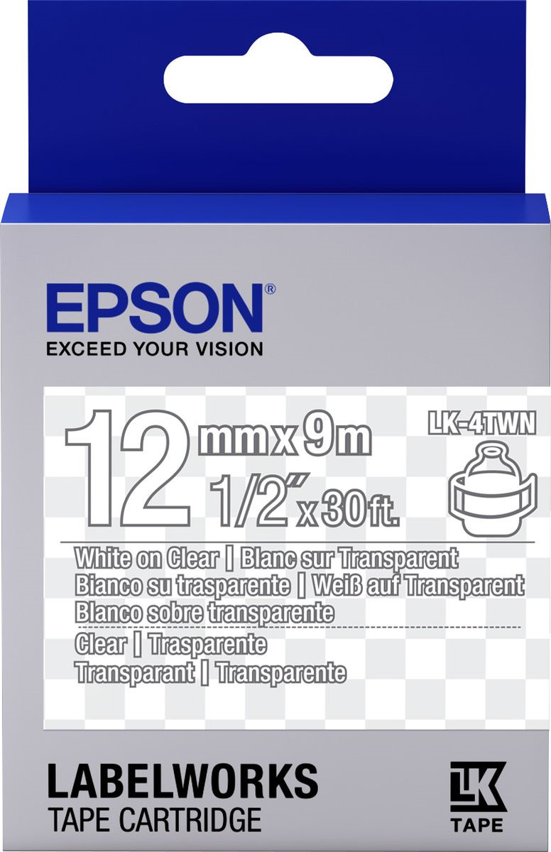 Картридж Epson для LabelWorks LW-300/LW-400/LW-400VP/LW-700/LW-900P, C53S654013, оригинальный, прозрачный цена