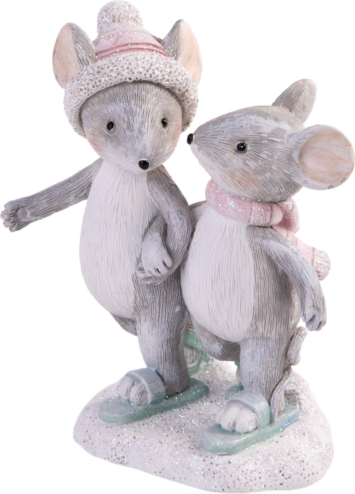 Фигурка декоративная Magic Time Снежные мышки, 80104, разноцветный, 9,5 х 7 4,5 см