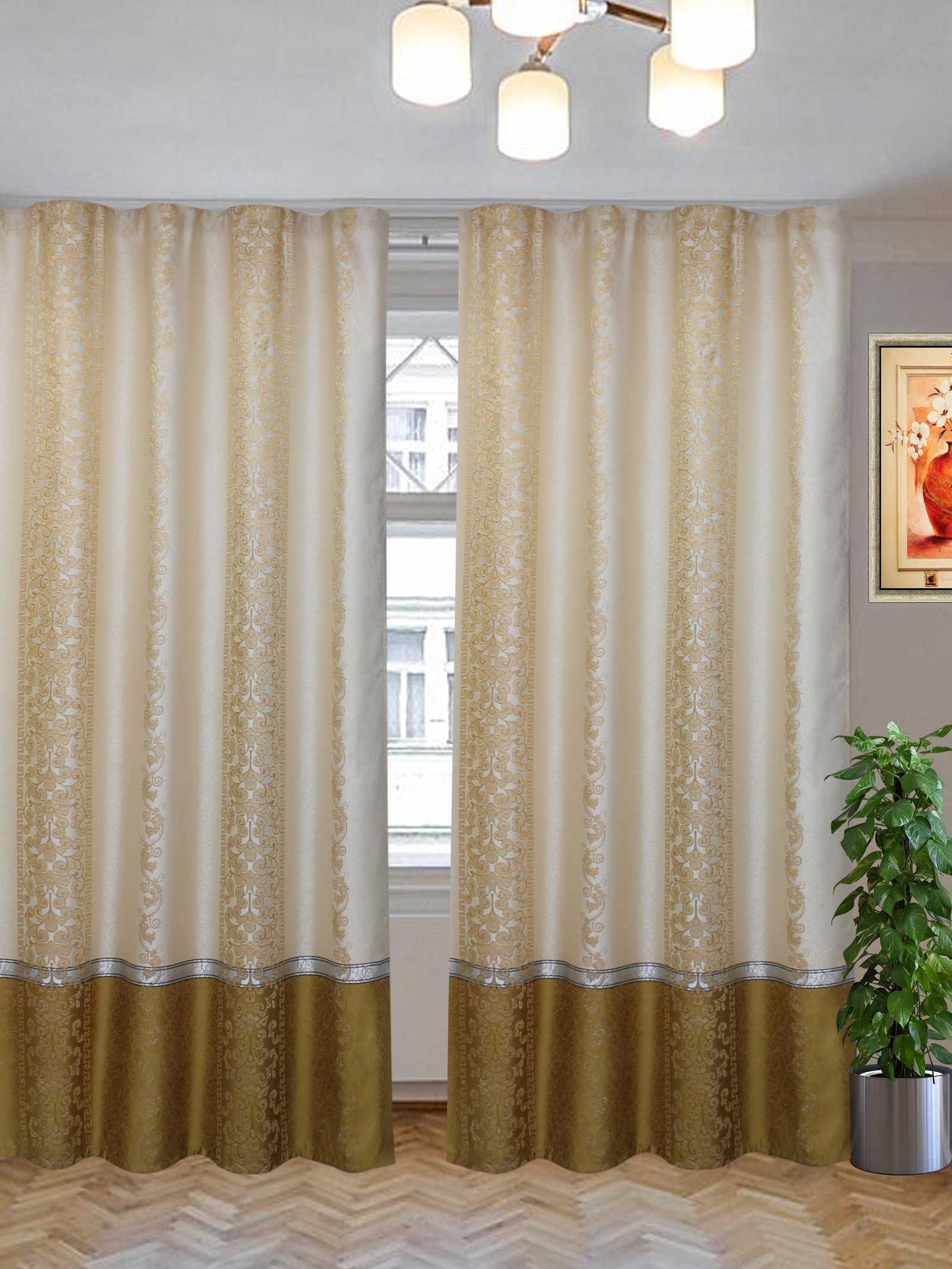 Комплект штор Текстиль.ру ТЕК-КШ-Галатея-12-3*2,5-Т, золотой, бежевый шторы для комнаты tomdom комплект штор тризи бежевый