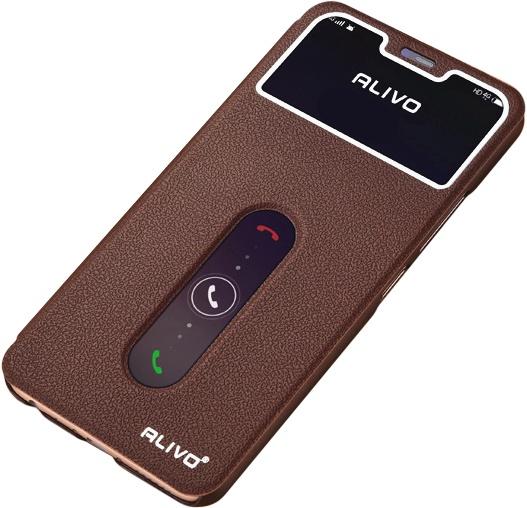 Чехол-книжка MyPads для Vivo NEX / Vivo Nex S 8/256GB с окошком для входящих вызовов и свайпом коричневый