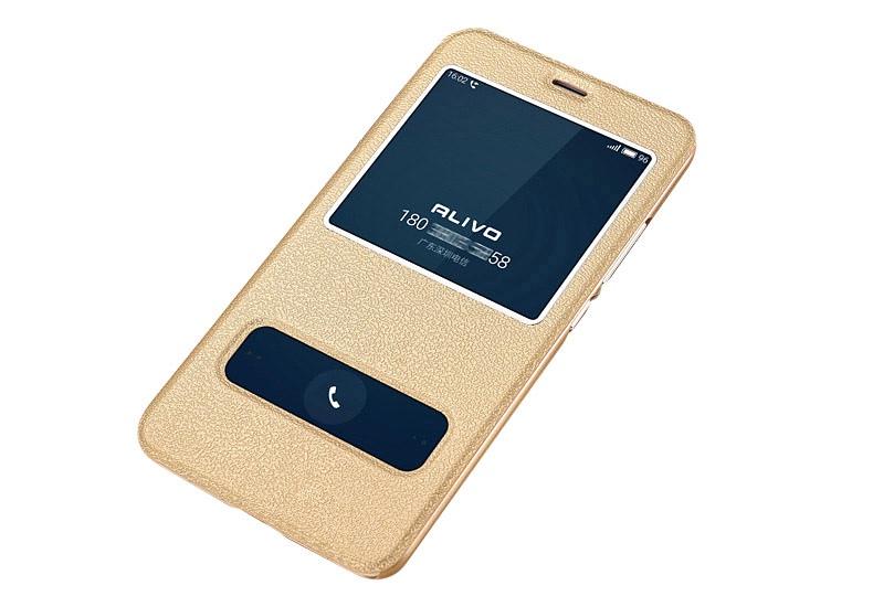 цена на Чехол-книжка MyPads для Sony Xperia XA1 Plus с окошком для входящих вызовов и свайпом золотой