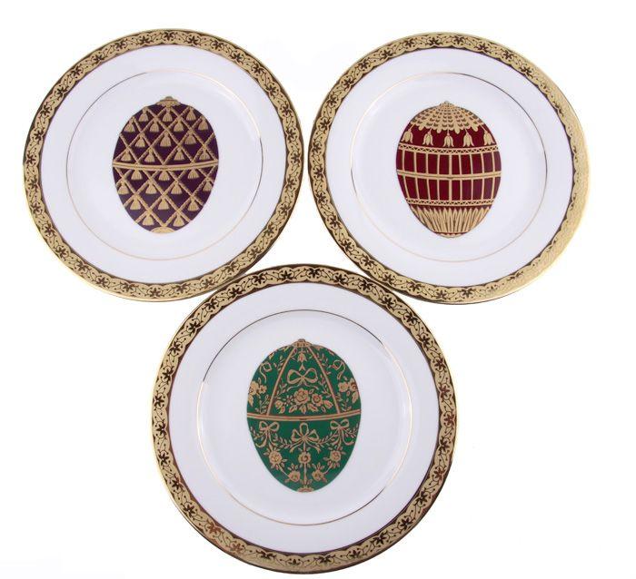 "Комплект из 3 тарелок ""Muirfield"". Фарфор, роспись, золочение. Великобритания, Muirfield, 1990-е гг."