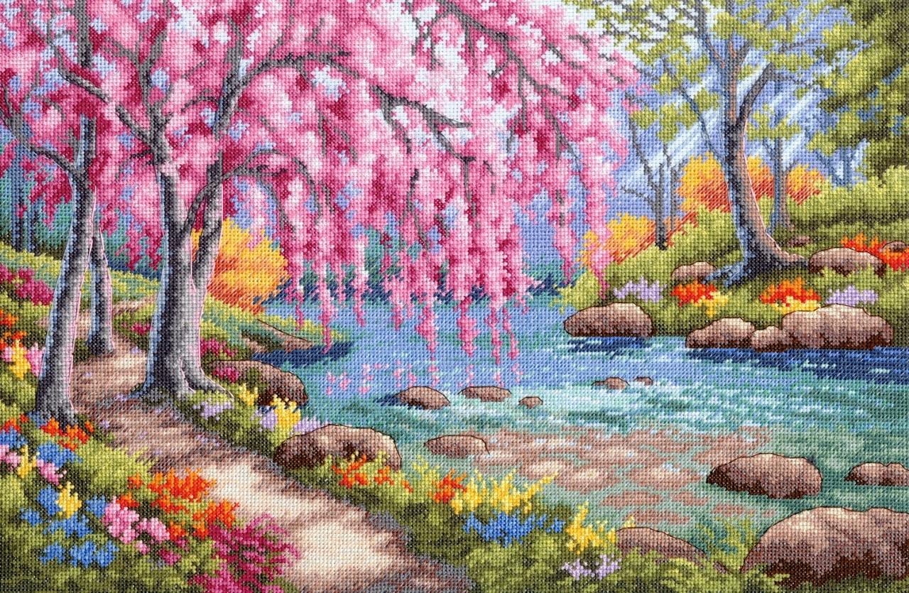 Набор для вышивания крестом Dimensions Цветение вишни над ручьем, 38х25 см