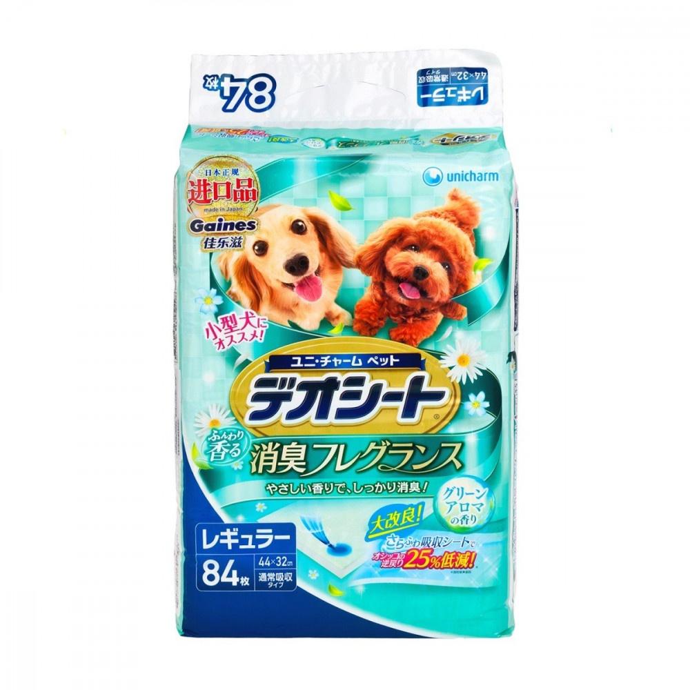 Подстилки (пеленки) UNICHARM для собак 44*32 см дезодорирующие с ароматом зелени 84 шт. шарики дезодорирующие для кошачьего туалета unicharm мягкий мыльный запах 450 мл