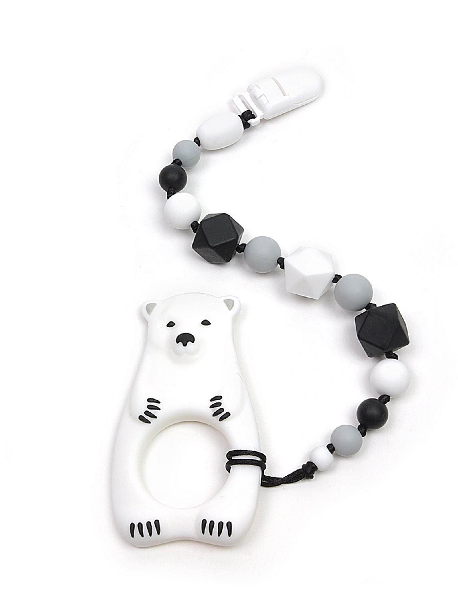 Грызунок -прорезыватель Монохром на держателе с клипсой, белый медведь