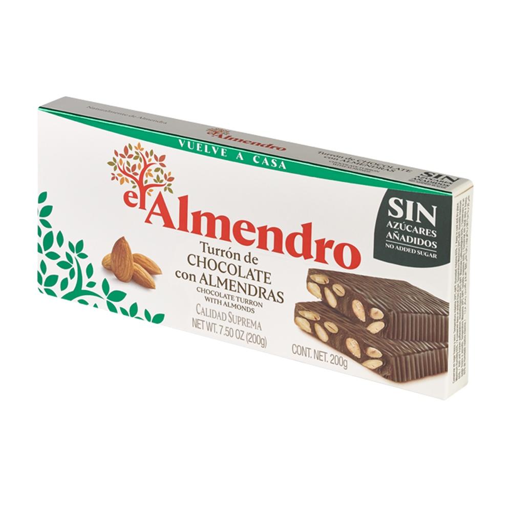 """Испанская шоколадная нуга Turron """"El Almendro"""" БЕЗ добавления САХАРА ( c подсластителем) , 200г"""