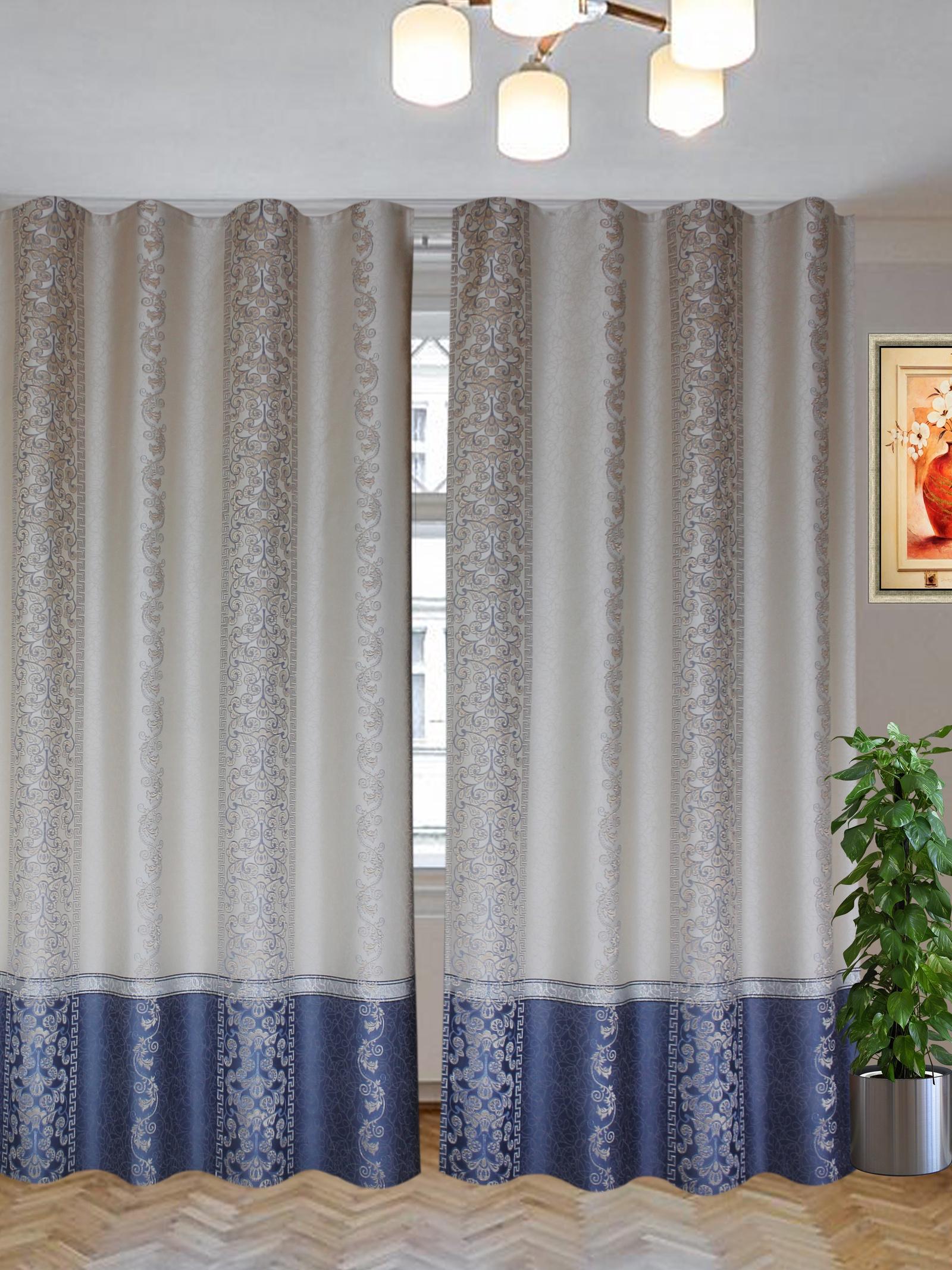 Комплект штор Текстиль.ру ТЕК-КШ-Галатея-11-3*2,5-Т, синий, бежевый шторы для комнаты tomdom комплект штор тризи бежевый
