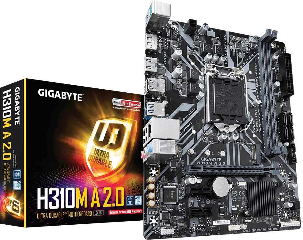 Материнская плата Gigabyte H310M A 2.0 Soc-1151v2 Intel H310 2xDDR4 mATX AC97 8ch(7.1) GbLAN+HDMI+D цена и фото