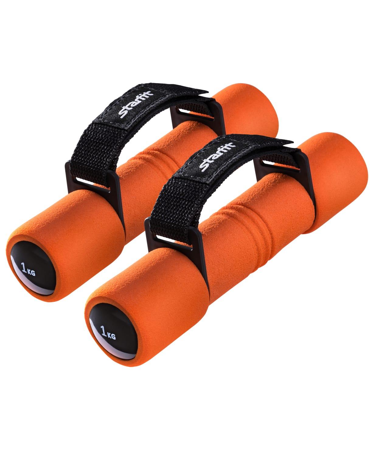 Гантель неопреновая STARFIT DB-203 1 кг, оранжевая (пара) поводок рыболовный afw titanium длина 15 см 9 кг 2 шт