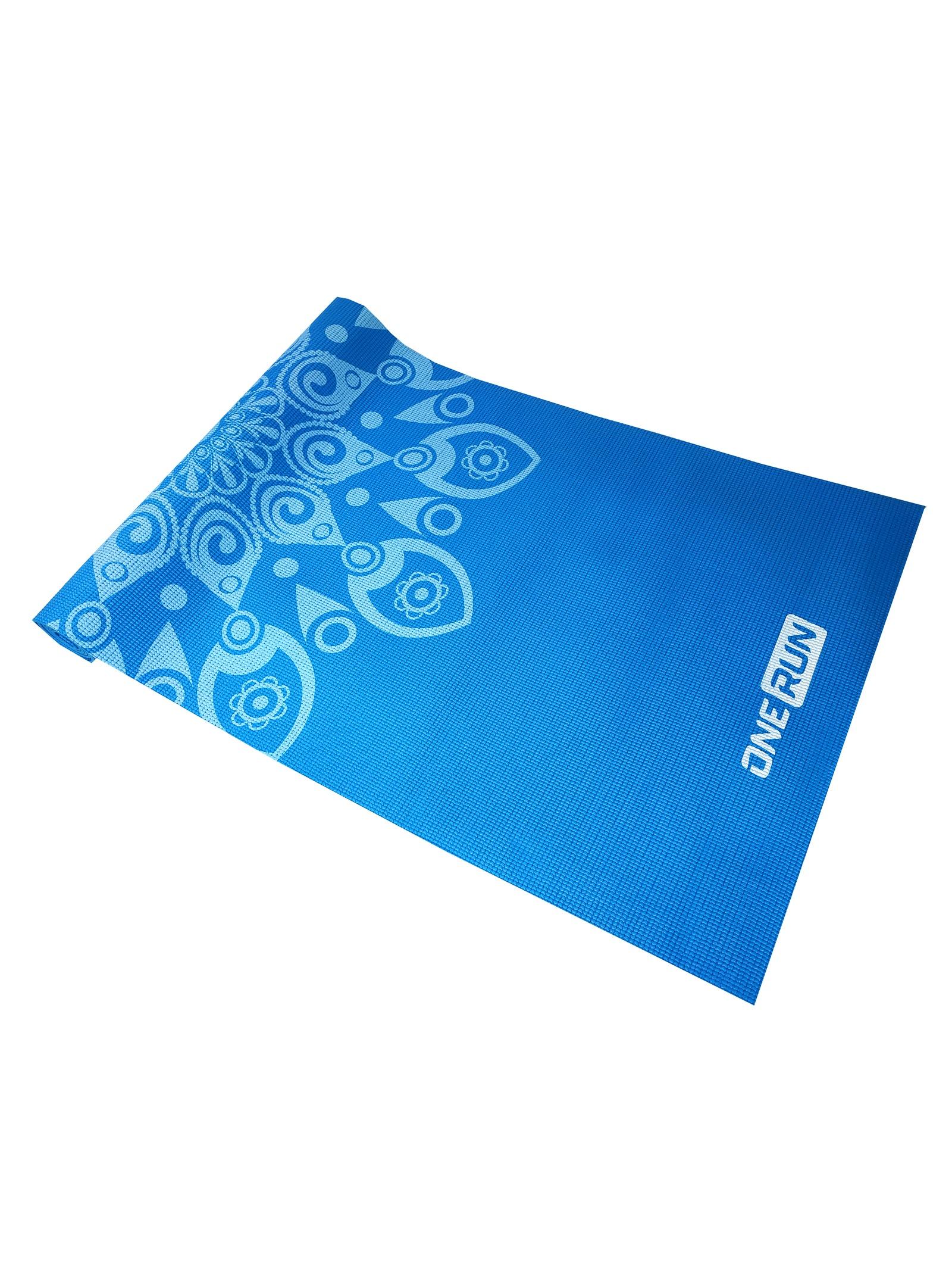 Коврик для йоги OneRun, цвет: голубой, 173 х 61 см коврик для йоги onerun 495 4807 зеленый 173 х 61 см