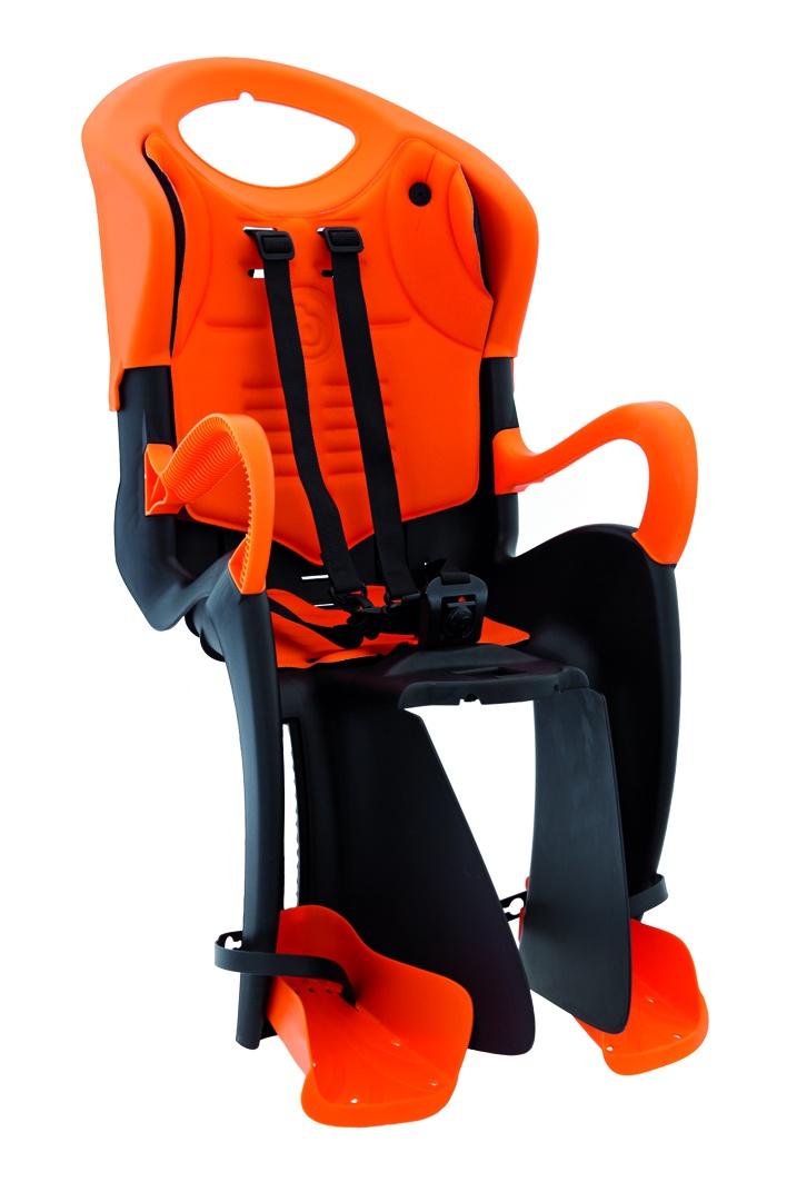 BELLELLI Сидение заднее Tiger Clamp, чёрно-оранжевое с оранжевой вставкой, до 22кг цены