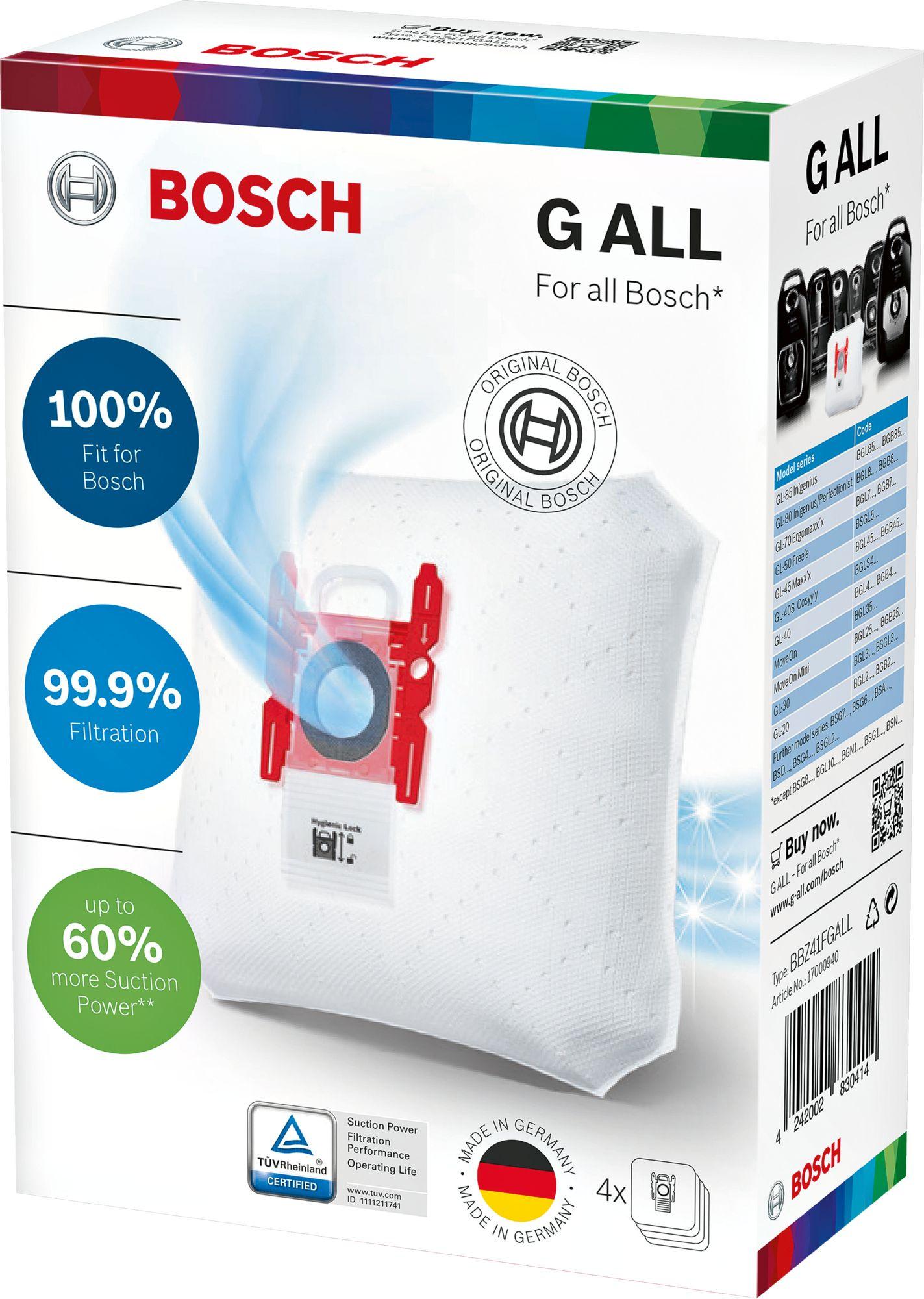 "Мешки-пылесборники Bosch PowerProtect, тип ""G ALL"", 4 шт, 17000940, BBZ41FGALL"