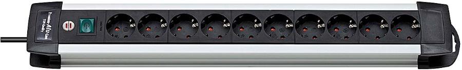 1391000010 Brennenstuhl удлинитель 3 м. с выключателем Premium-ALU-Line, черный, 10 розеток