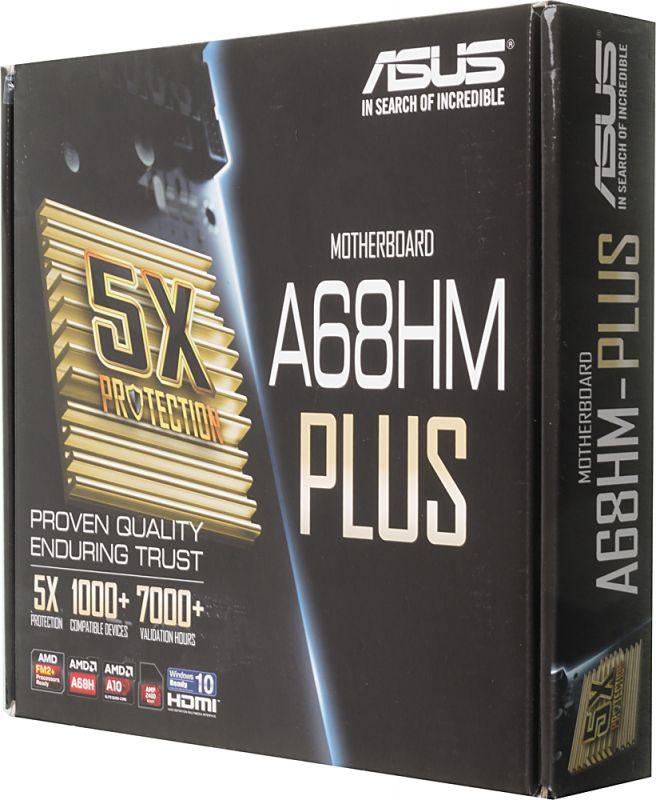 Материнская плата Asus A68HM-PLUS Soc-FM2+ AMD A68H 2xDDR3 mATX AC97 8ch(7.1) GbLAN RAID+VGA+DVI+HD