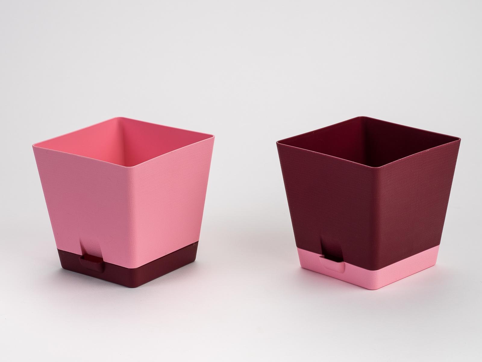 Комплект горшков для цветов с поддоном ТЕК.А.ТЕК DUET 3л розовый с бордовым 2шт горшков в валерий горшков комплект из 9 книг