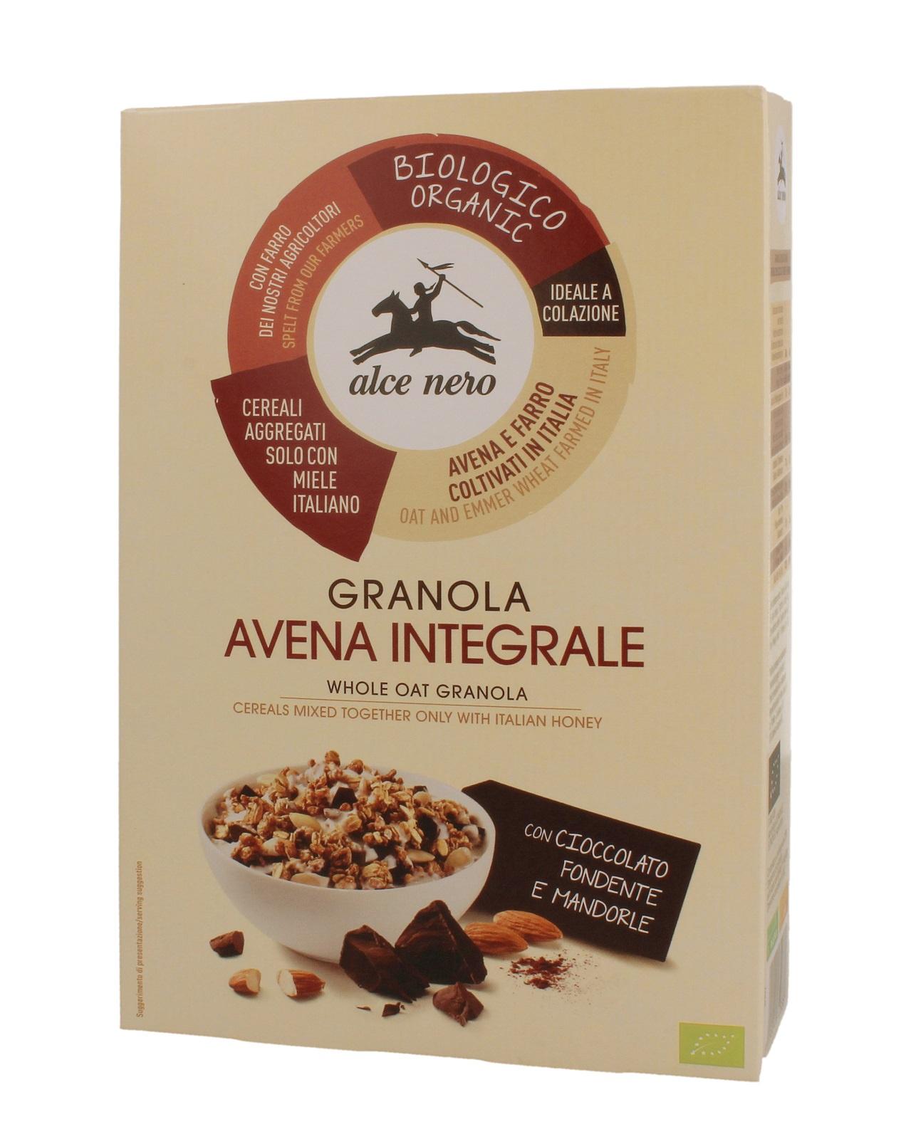 ALCE NERO Гранола с темным шоколадом и миндалем, коробка 300 г нордик галеты из овса с темным шоколадом 300г 10шт по 30г
