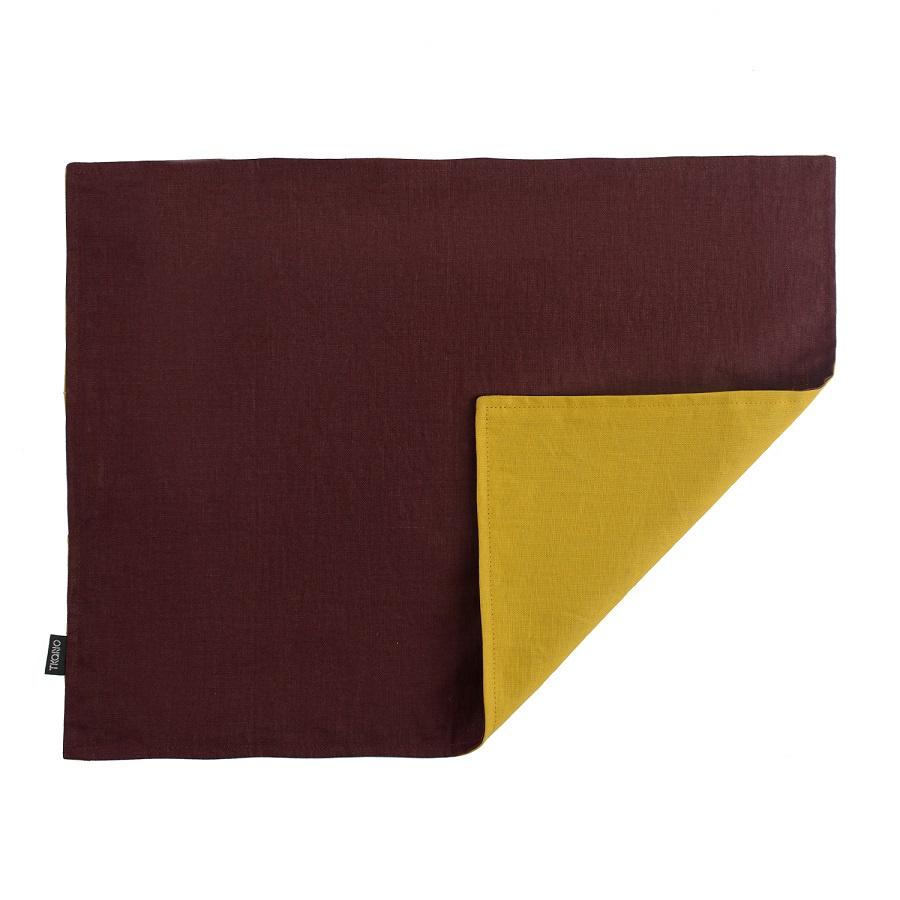 Салфетка Tkano под приборы из умягченного льна с декоративной обработкой бордовый/горчица Essential 35х45 klippan салфетка под приборы