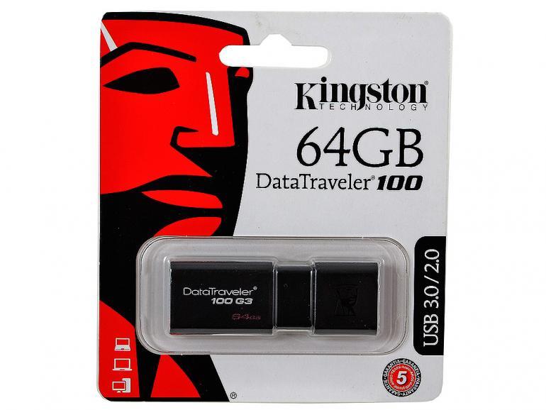 Флеш накопитель 64GB Kingston DataTraveler Traveler 100 G3, USB 3.0, черный