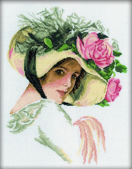 Набор для вышивания РТО Девушка в шляпе с розой - 2 (26 x 33 см.) м579 первый снег рто рто