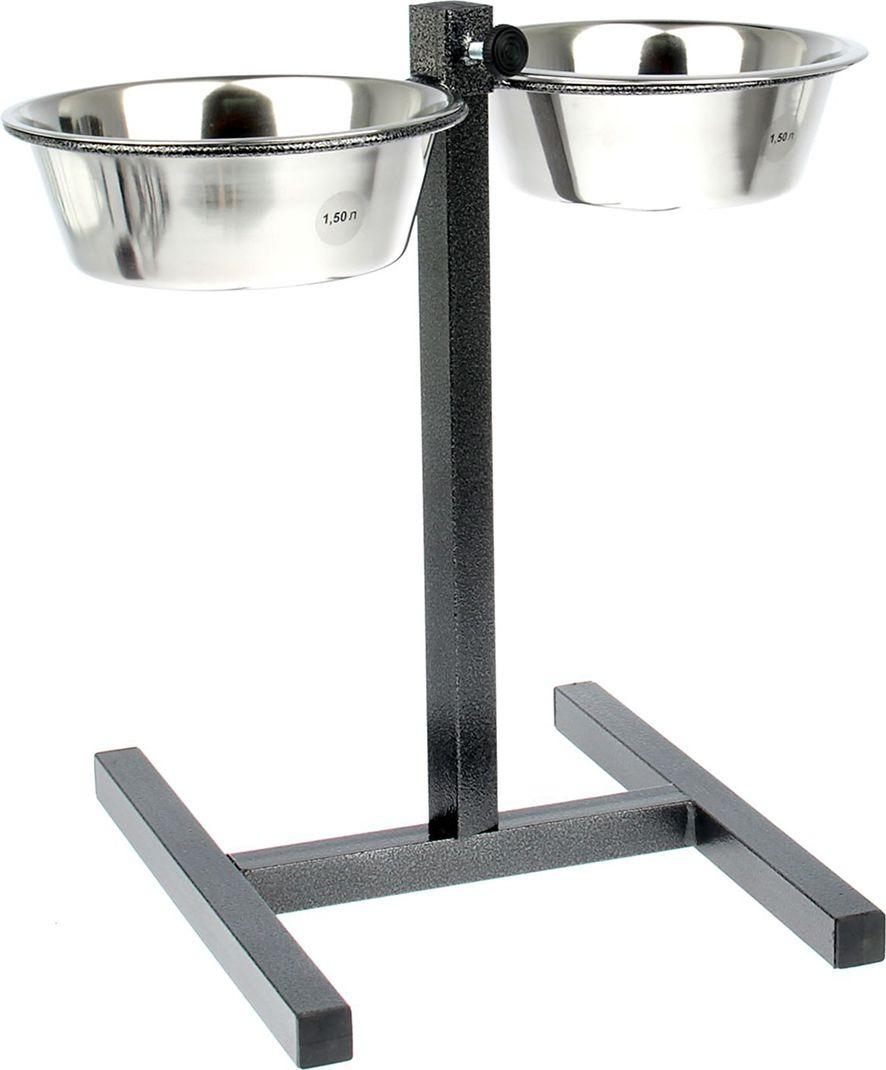 Подставка для мисок, напольная, с 2 мисками по 1,8 л, серебристый металик, высота 10-45 см