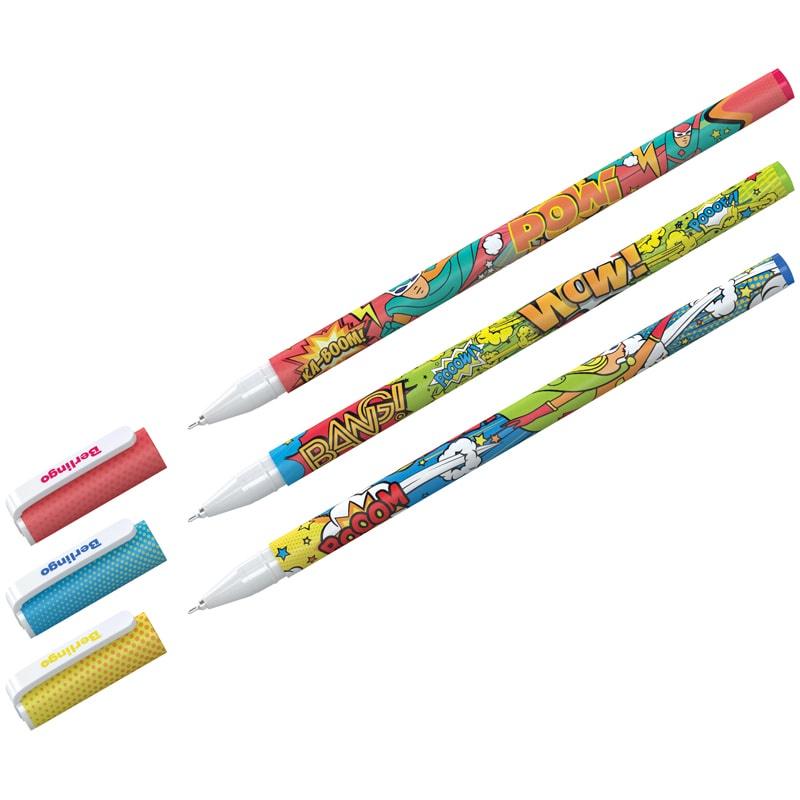 купить Berlingo Ручка шариковая Funline Hype, синяя, 3 шт. по цене 175 рублей