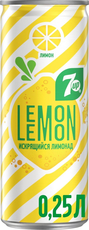 Фото - 7-UP Lemon Искрящийся лимонад напиток сильногазированный, 0,25 л 7 up лимон лайм напиток сильногазированный 0 33 л