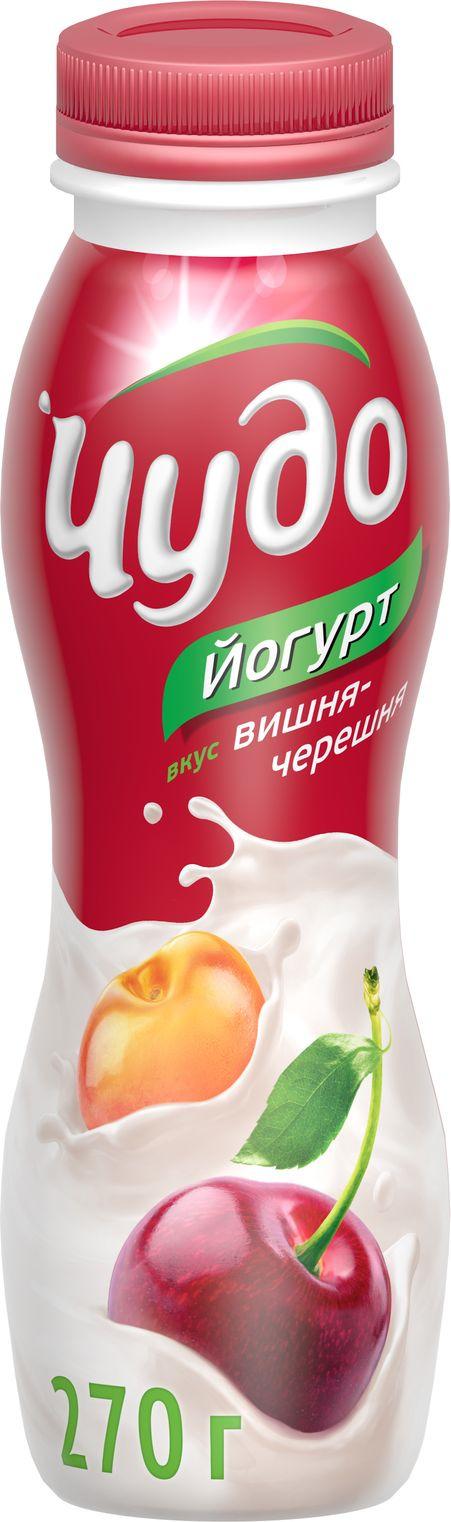 Йогурт фруктовый вишня-черешня 2,4% Чудо, 270 г