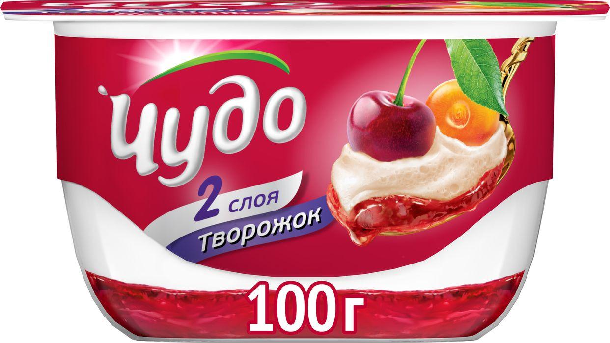 Десерт творожный воздушный вишня-черешня 4% Чудо, 100 г