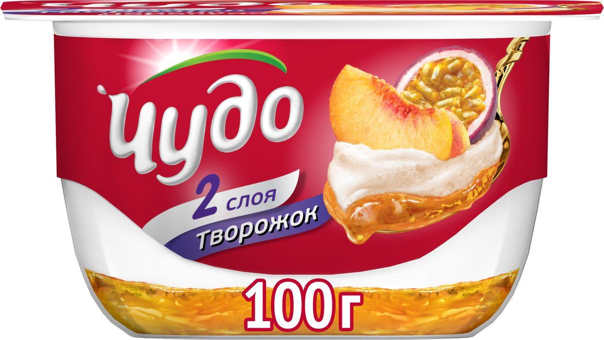 Десерт творожный воздушный персик-маракуйя 4,2% Чудо, 100 г