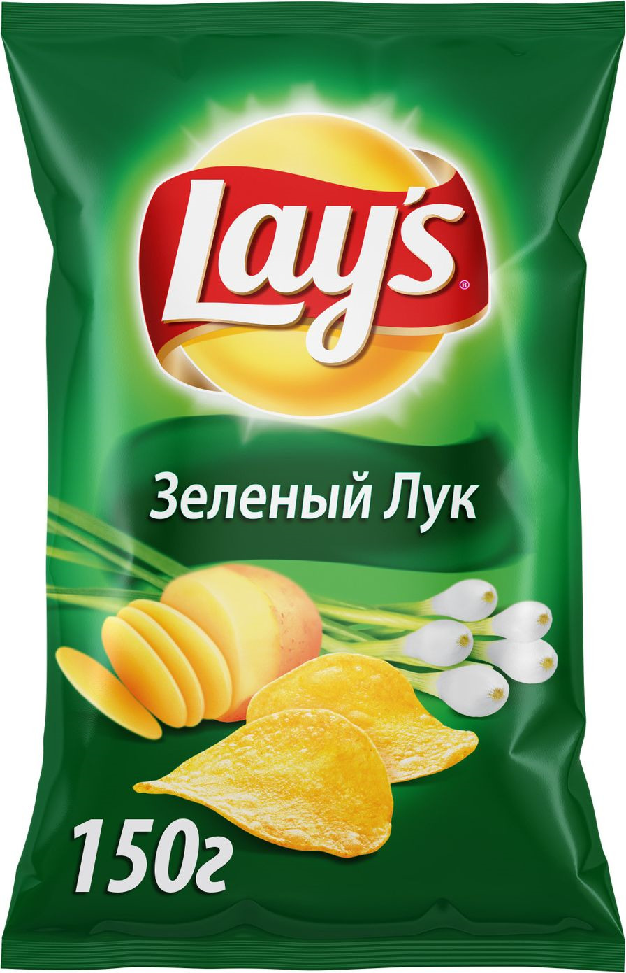 Чипсы Lay's Молодой зеленый лук картофельные, 150 г чипсы картофельные русская картошка колбаски гриль 150 г