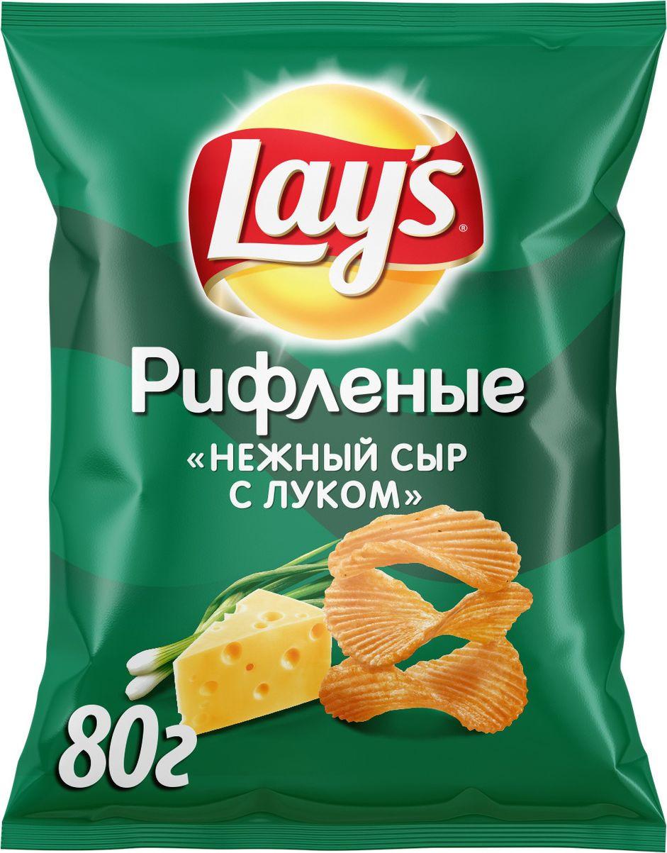 Чипсы Lay's Нежный сыр с луком рифленые картофельные, 80 г чипсы картофельные русская картошка сыр 150 г