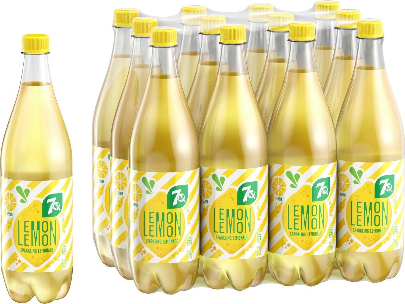 """Газированный напиток 7-UP """"Искрящийся лимонад"""", 12 шт по 1 л"""