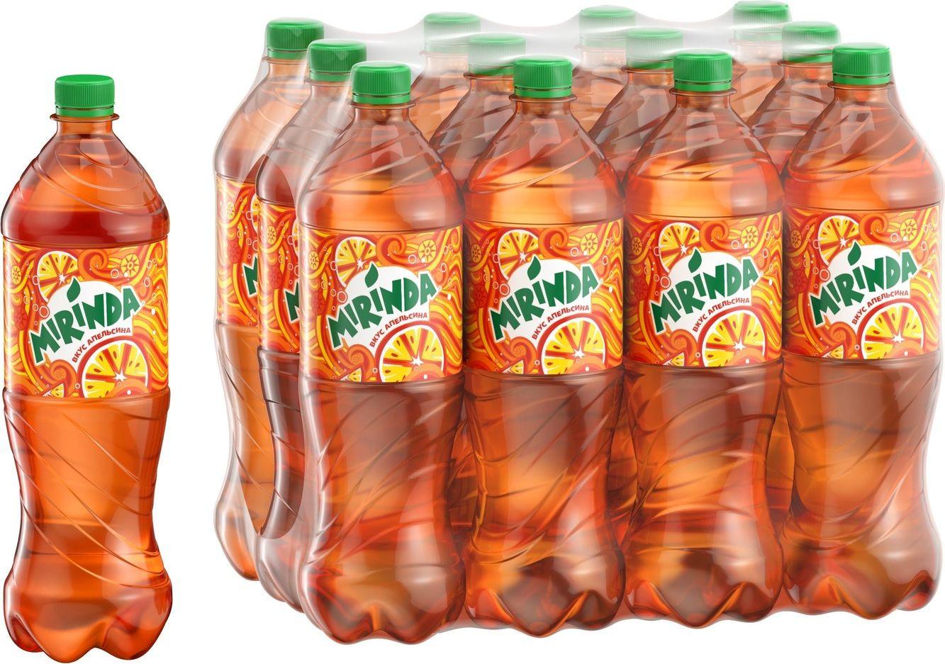 """Газированный напиток Mirinda """"Апельсин"""", 12 шт по 1 л"""
