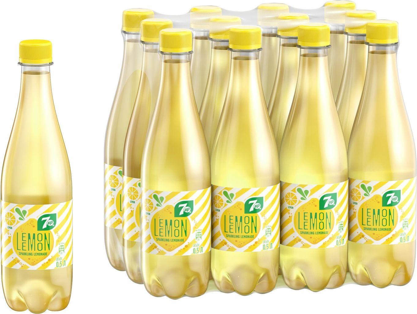 """Газированный напиток 7-UP """"Искрящийся лимонад"""", 12 шт по 500 мл"""