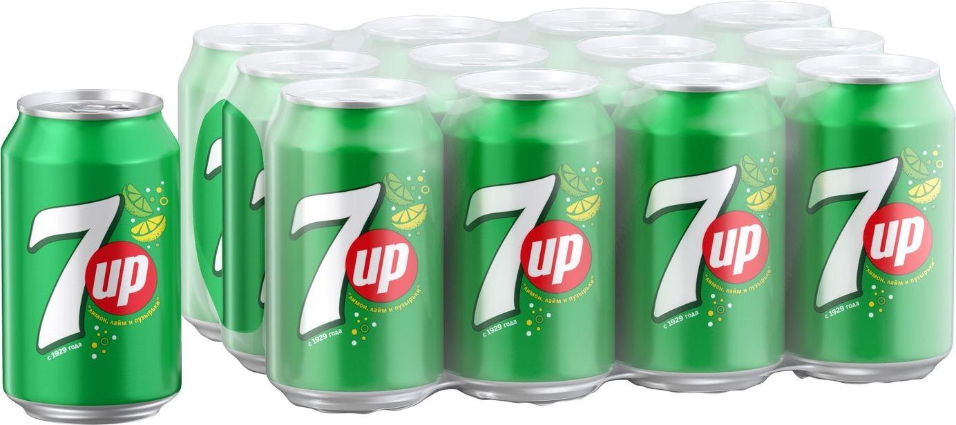 Фото - Газированный напиток 7-UP Лимон-Лайм, 12 шт по 330 мл 7 up лимон лайм напиток сильногазированный 0 33 л