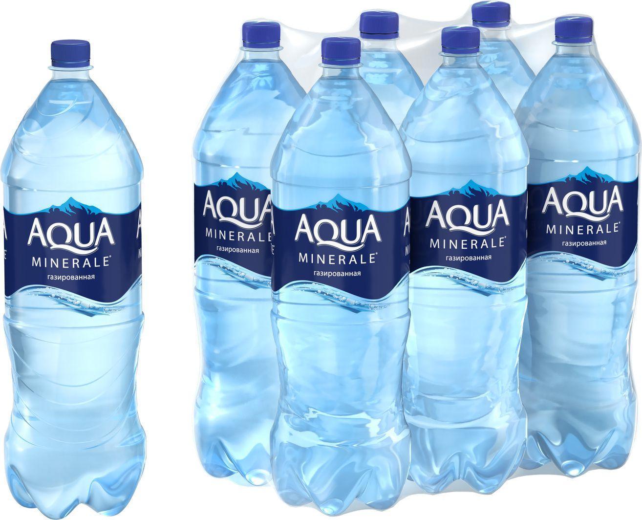 Вода Aqua Minerale газированная питьевая, 2л (упаковка 6шт)