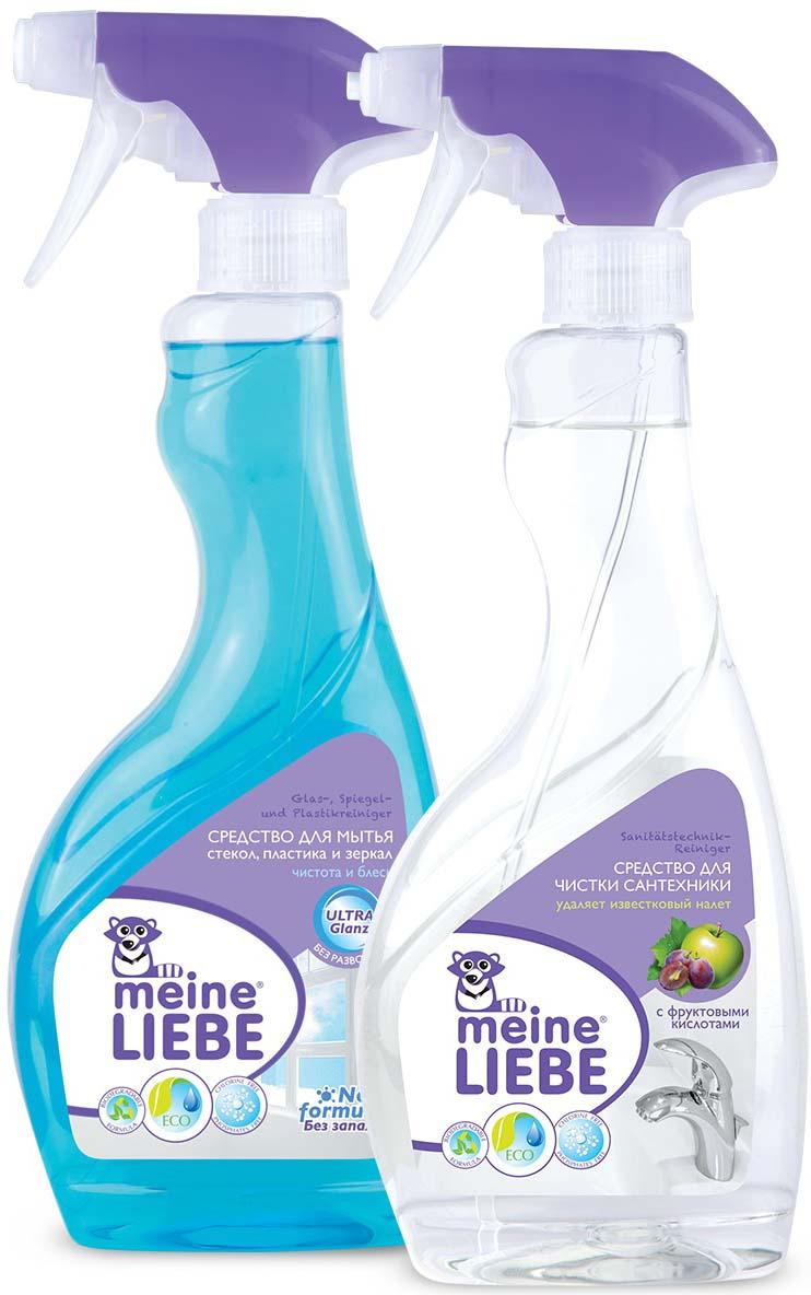 Средство для чистки сантехники Meine Liebe, 500 мл + Средство для мытья стекол Meine Liebe, 500 мл meine liebe универсальное средство для мытья пола антибактериальный эффект 750 мл