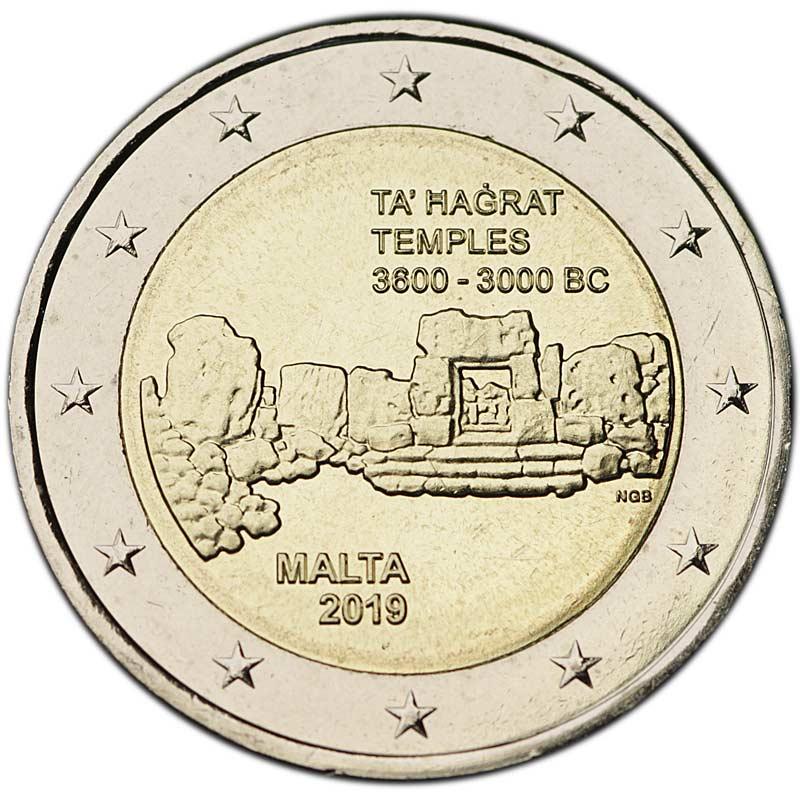 Монета номиналом 2 евро 2019 Мальта, Та Хаджрат цена