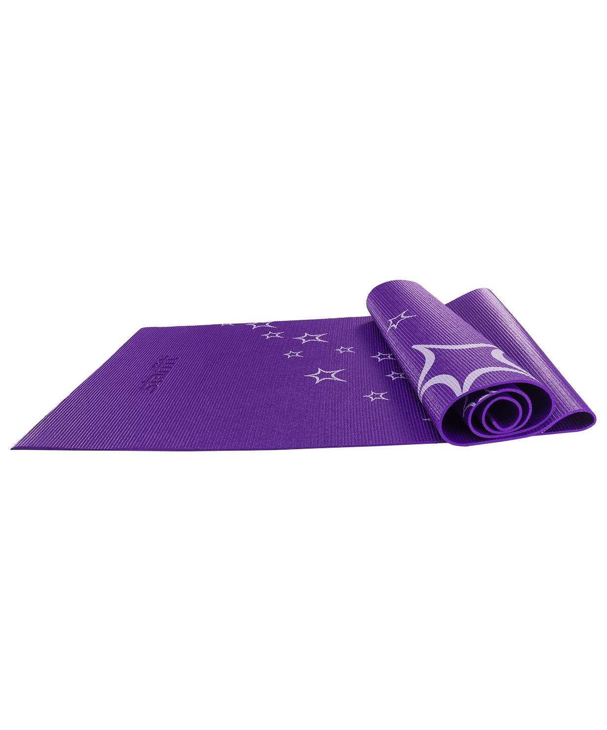 Коврик для йоги STARFIT FM-102 PVC 173x61x0,4 см, с рисунком, фиолетовый коврик для йоги и фитнеса indigo фиолетовый с рисунком 173 х 61 х 0 6 см