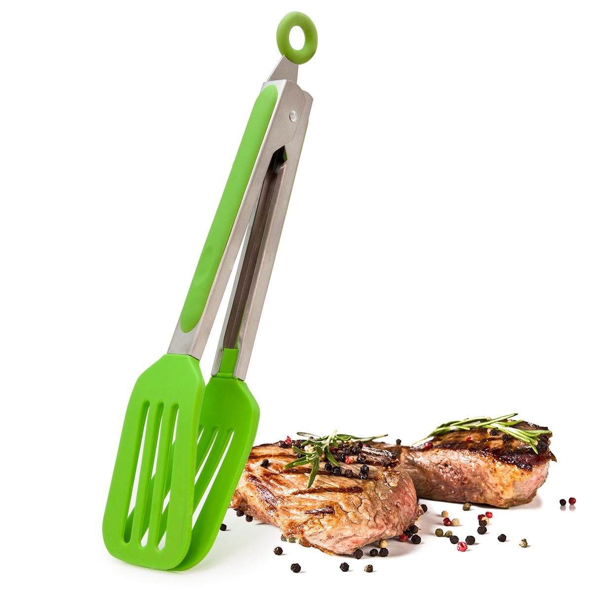 Щипцы силиконовые кулинарные Borner Trend, цвет: салатовый
