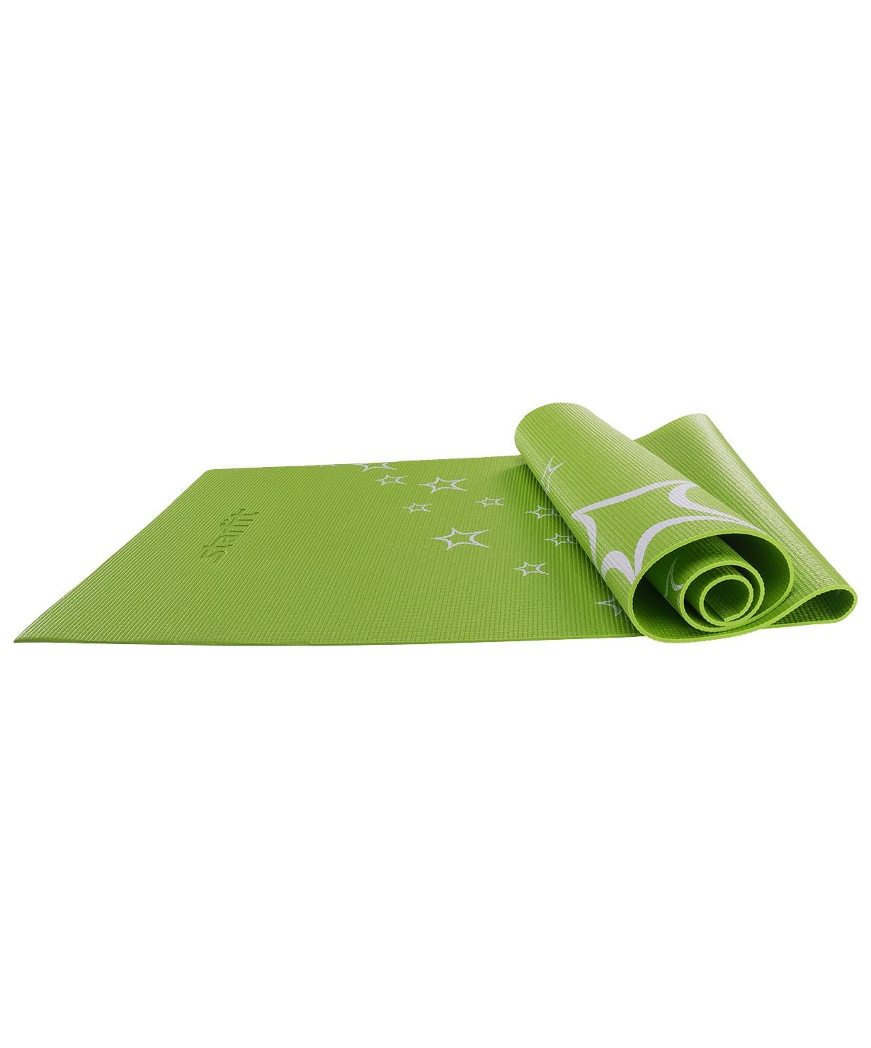 Коврик для йоги STARFIT FM-102 PVC 173x61x0,6 см, с рисунком, зеленый коврик для йоги onerun 495 4807 зеленый 173 х 61 см