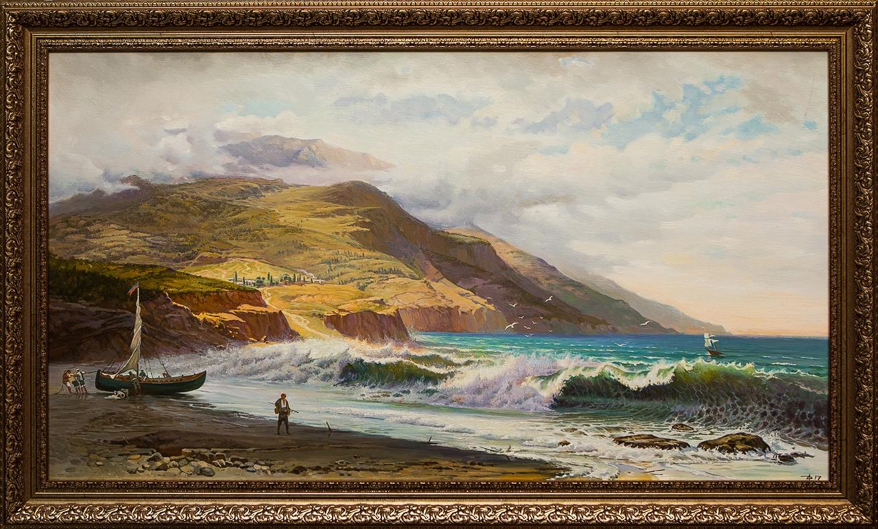 Картина маслом Горы и море Дельцов картина горы