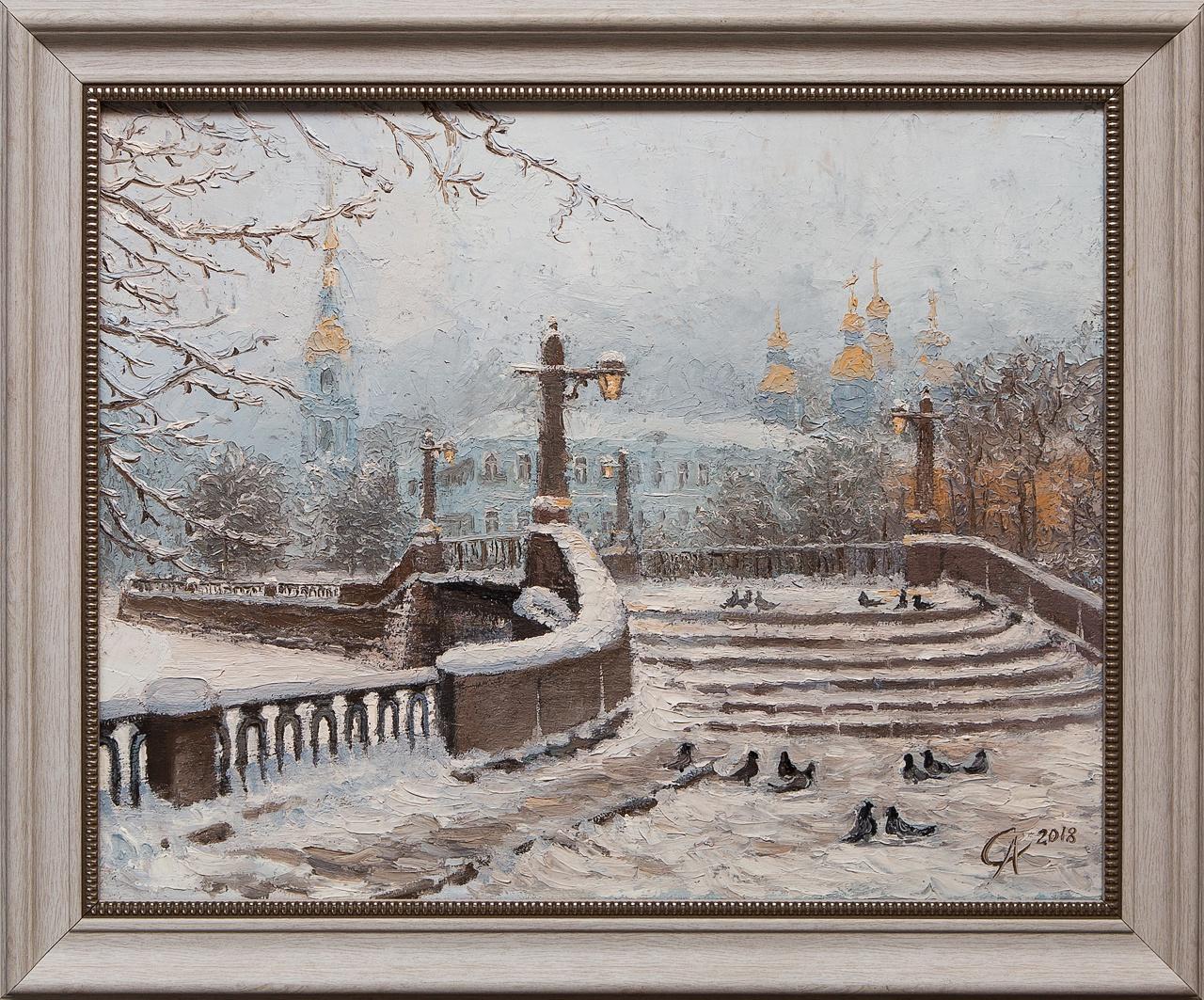 Картина маслом Крюков канал. Зимой Степанков картина маслом биржа степанков