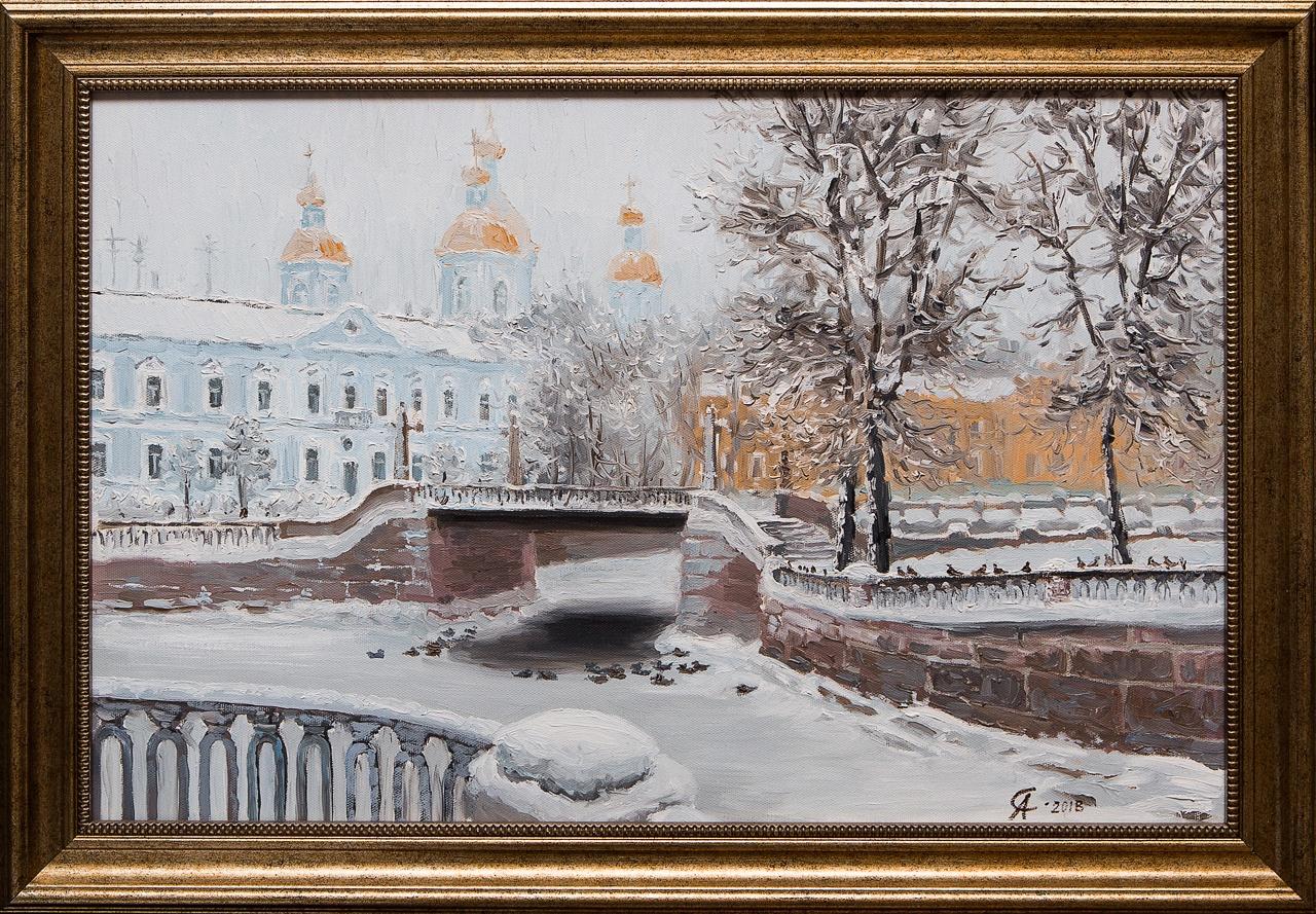 Картина маслом Никольский собор Зимой Степанков картина маслом биржа степанков