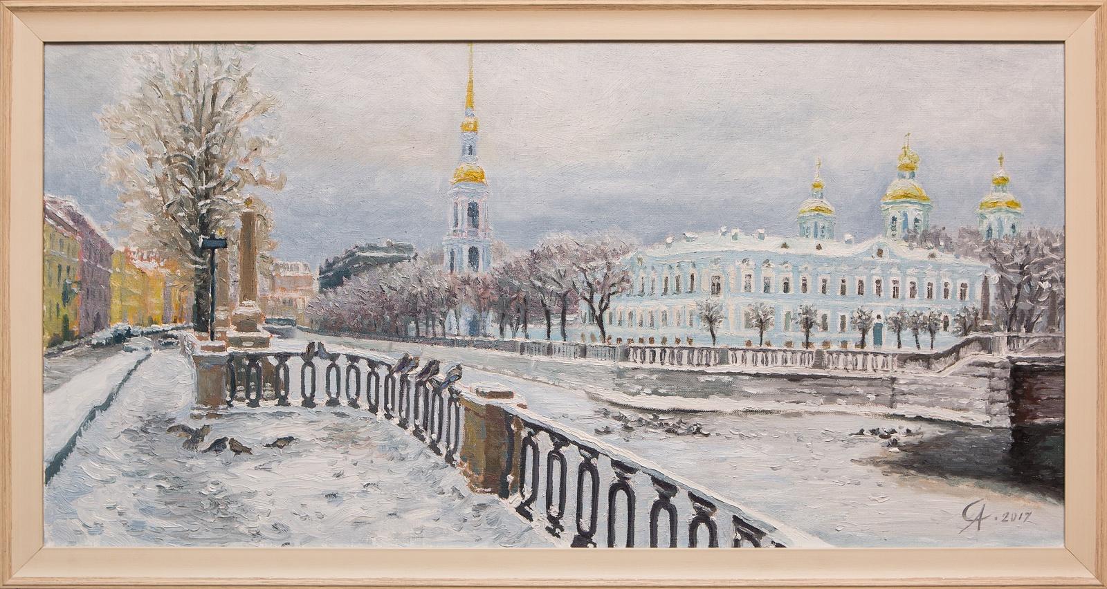Картина маслом Никольский собор. Зима Степанков картина маслом биржа степанков