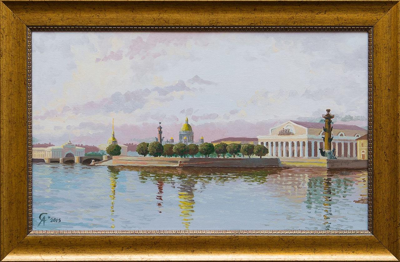 Картина маслом Утро на Неве Степанков картина маслом биржа степанков