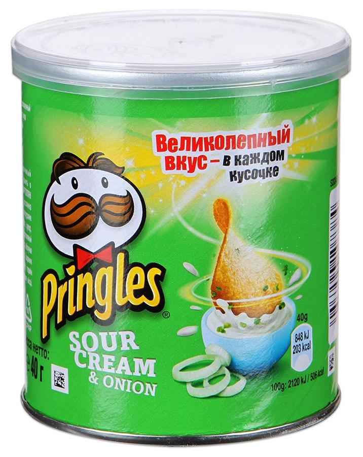 Pringles картофельные чипсы со вкусом сметаны и лука, 40 г чипсы pringles со вкусом сметаны и лука 70г